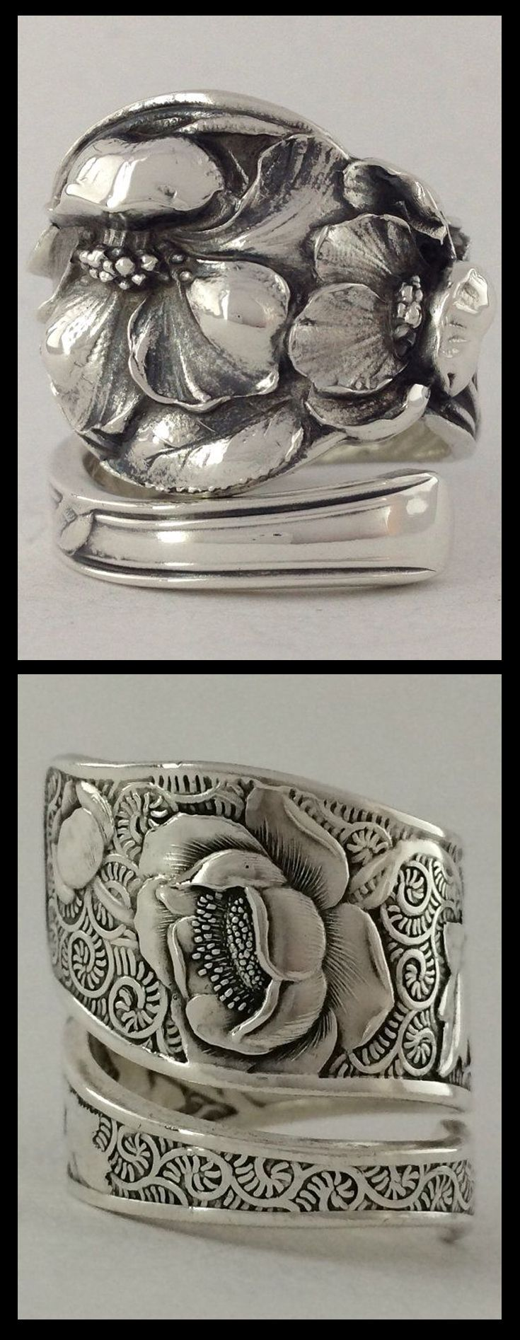 Vintage Solid Sterling Silver Spoon Rings made by Not So Flatware