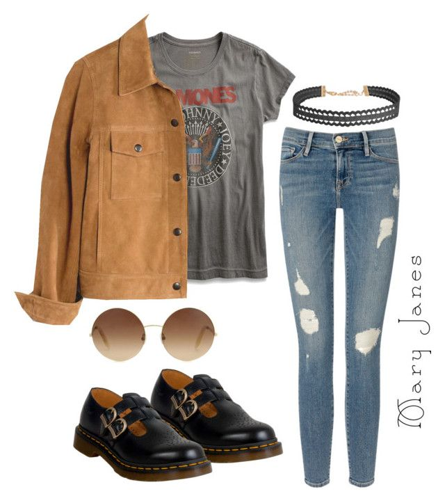 """""""Aesthetic - Mary Janes Doc Marten's"""" by hannahsul ❤ liked on Polyvore featuring Dr. Martens, Lucky Brand, Madewell, Frame Denim, Humble Chic and Victoria Beckham"""
