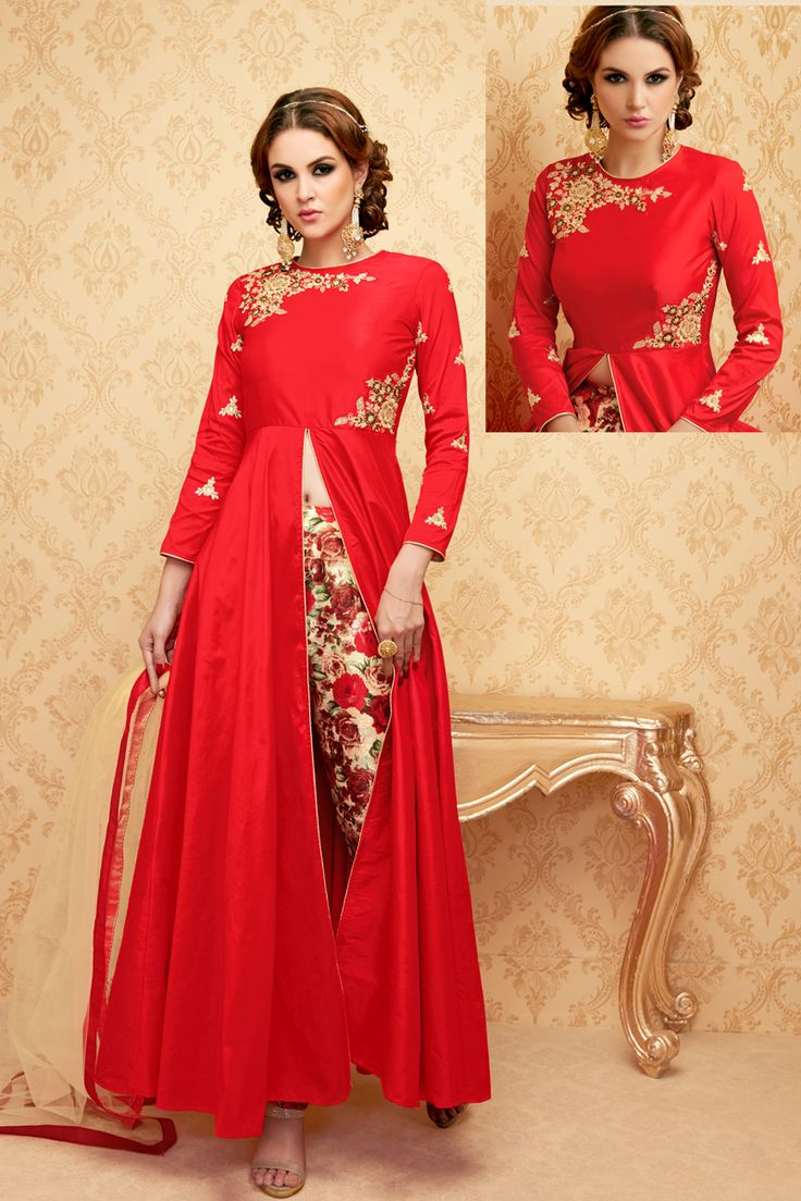 Red Stylish Eid Special Party Wear Suit With Embroidary Work 102
