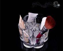 Maquillage cosmétiques boîte de rangement en plastique Forme Organisateur Fleur Transparent boîte contenant 9 * 5,7 cm 2014 New ZNC026(China (Mainland))