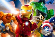 Costumbre Mural Poster Wallpaper Lego Lego Lego Superhéroes de Marvel Comics Avengers Hulk Sticker Pegatinas de Pared Decoración Del Hogar #2788 #(China)