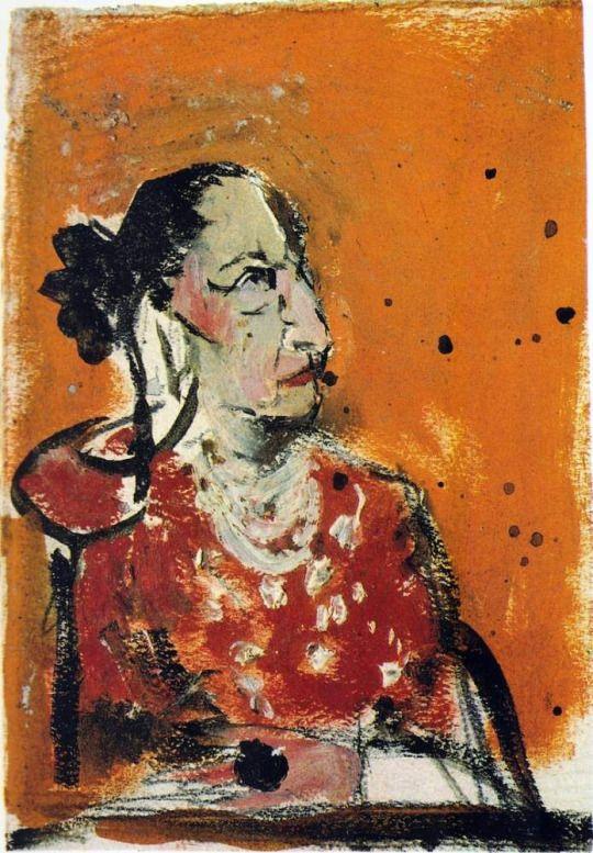 Graham Sutherland (British, 1903-1980), Helena Rubinstein. Composition study, 1957. Gouache on paper, 18 x 13 cm.
