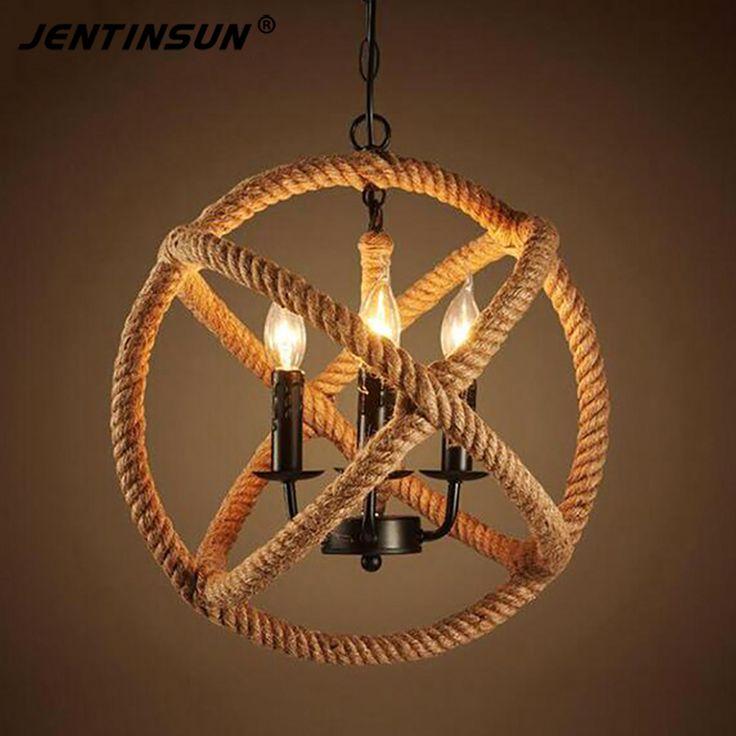Retro Hemp Rope Iron Pendant Lights Vintage Hemp Cord Hanging Lamp For Cafe Bar Restaurant Ball Shape LED Haning Light Lamps #Affiliate
