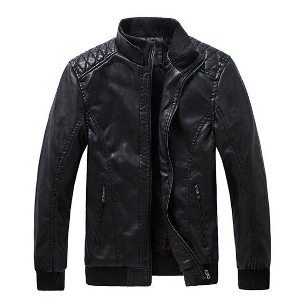 Men's Motorcycle Black PU Leather Jacket Washing Stand Collar Slim Fit... ($43) ❤ liked on Polyvore featuring men's fashion, men's clothing, men's outerwear, men's jackets, jackets, mens motorcycle jackets, mens jackets, mens slim fit outerwear and mens pleather jacket