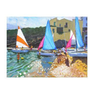 sailing school calella de palafrugall costa canvas print