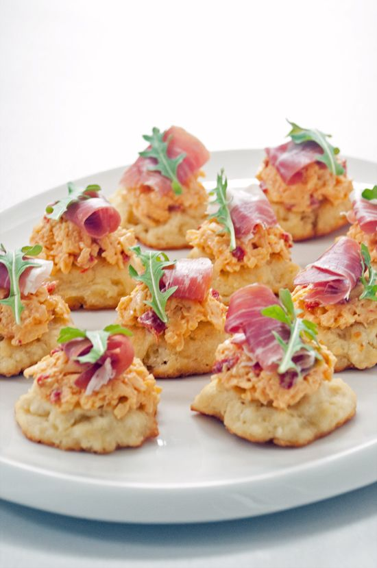 Pimento Cheese, Prosciutto and Drop Biscuit Bites