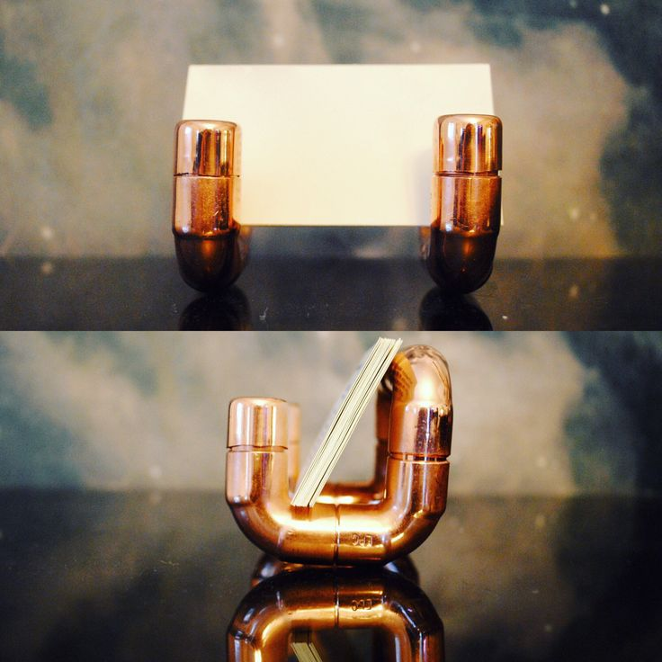 Cool collection of items to choose from / / / Copper Business Card Holder, Industrial Desk Accessory, Modern Business Card Stand, Copper Pipe Design, Modern Office, Steampunk Design by ModPipeFurnishings on Etsy https://www.etsy.com/listing/263319493/copper-business-card-holder-industrial