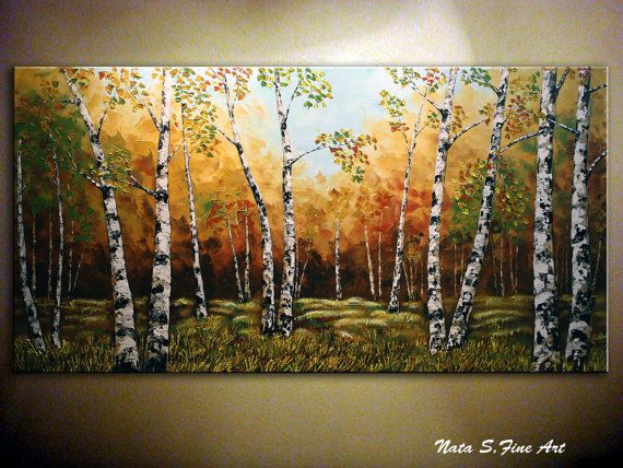 """Landscape ORIGINAL Painting Abstract Contemporary.Palette Knife.Textured.Birches Forest,Trees,Fall,Autumn Painting 48""""..... by Nata S."""