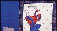 """spiderman wall accent mural lifesize - great accent for the spiderman bedroom. make decorating your childs room a breeze! - 26""""W X 46""""H Pre-Pasted Washable and Strippable   Just roll it out, wet it and apply it to your walls. Creative fun Spiderman bedroom design and decorating ideas for kids theme bedrooms."""