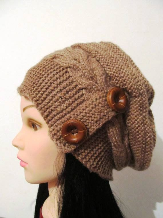 Check out this item in my Etsy shop https://www.etsy.com/listing/212268928/caramel-knit-hat-for-womenwith-buttons