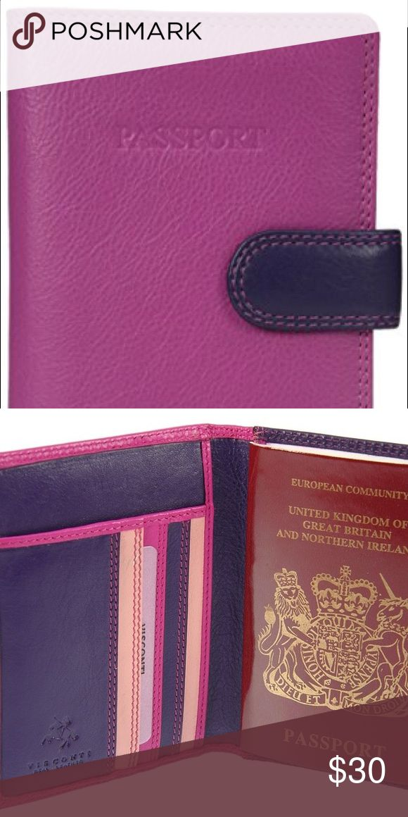 Passport holder RFID blocking The RB 75 is a passport wallet from the Visconti Rainbow Collection. It has 5 slots for credit cards as well as 2 additional pockets for secure papers. It snaps close to keep your passport safe. Visconti is a leading U.K. brand of quality wallets sold in upscale luggage stores and department stores across Western Europe. RFID blocking prevents contactless fraud. Louis Vuitton Accessories