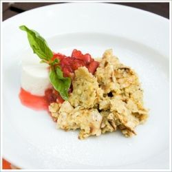 Chef's Recipes | chef Hedy Goldsmith's recipe for Matzo Brei with Strawberry-Basil-Rhubarb Jam and Greek Yogurt Cheese.