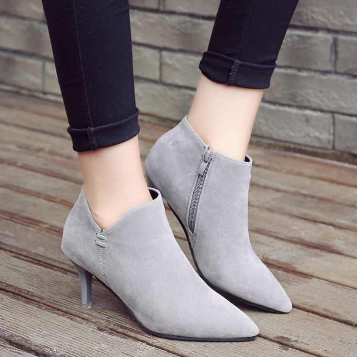 Cheap short boots, Buy Quality winter 2016 directly from China boots with high heel Suppliers: Europe and the United States autumn/winter 2016 naked boots USES fine with high heel boots shoes point short boots
