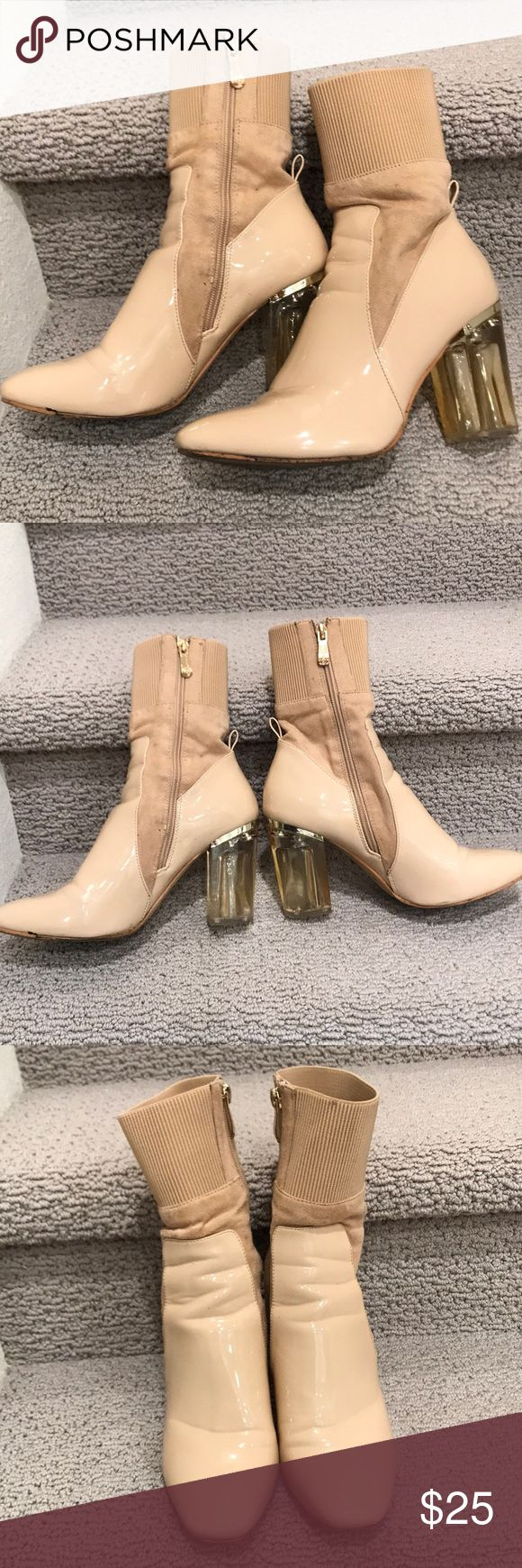 Cape Robbin Clear Perspex Heel Ankle Bootie Shoes Beige/nude Cape Robbin Block Clear Lucite Perspex Heel Ankle Boot Bootie Shoe in size 8.5. Worn a few times. The shoe overall is in really good condition. The bottom is a little dirty, but the dirt can be removed with water or shoe cleaner. cape robbin Shoes Ankle Boots & Booties