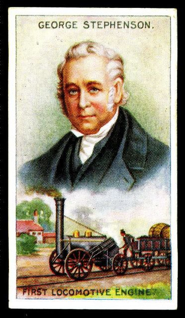 George Stephenson 1781-1848, English Engineer..Stephenson began his working life in coal mines and was one of the first people to realise how steam power and railways could help the coal industry develop, He became  engineer to the pioneering Stockton and Darlington railway company and drove the world's first steam-powered train in 1825. He built the famous Rocket in 1829. It became the standard design that all steam locomotives were based.