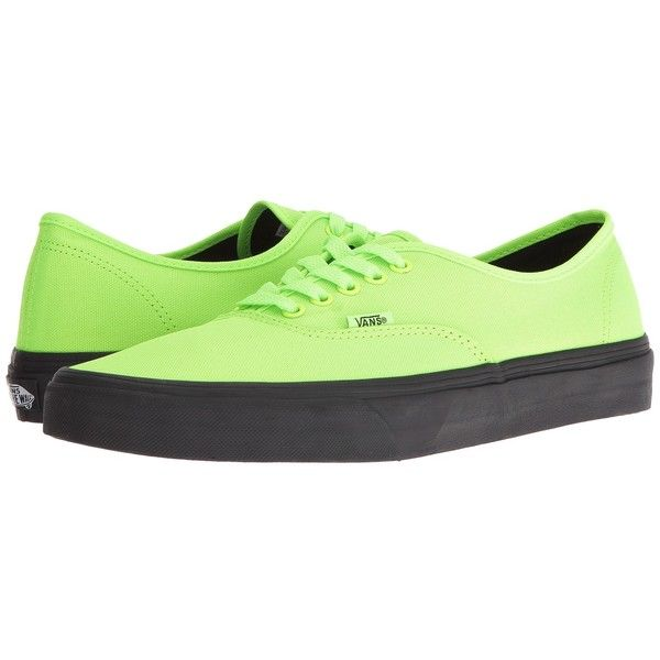 Vans Authentic ((Black Outsole) Neon Green/Black) Skate Shoes (3.055 RUB) ❤ liked on Polyvore featuring shoes, sneakers, vans sneakers, black sneakers, skate shoes, black shoes and vans trainers