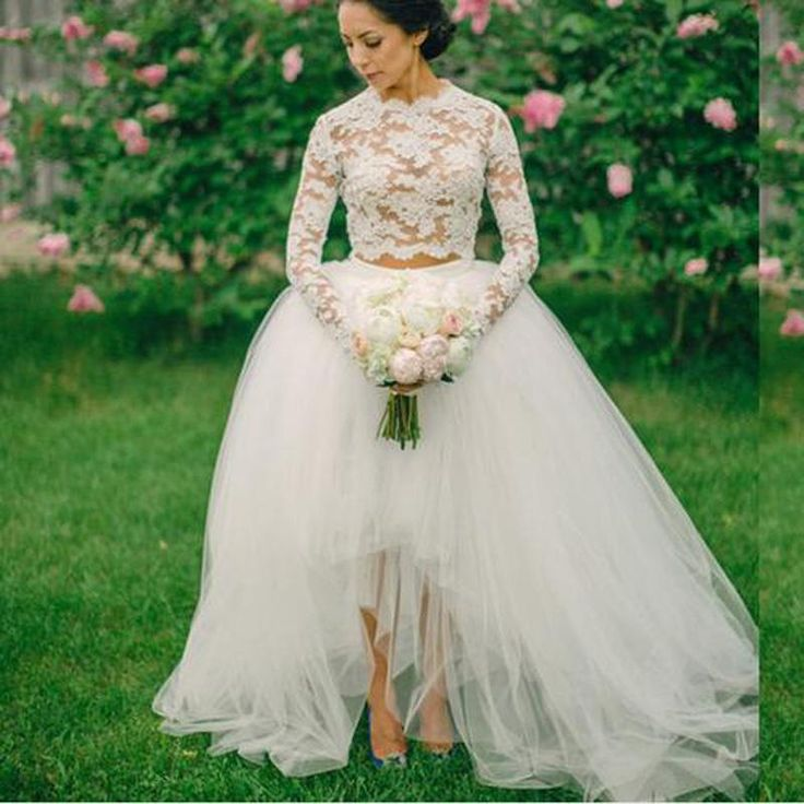 Vintage Two Pieces Lace Wedding Dresses Long Sleeves Vestido De Noiva Appliques Ball Gowns Tulle Skirt Prom Dresses Plus Size J1117 Online with $175.92/Piece on Caradress's Store | DHgate.com