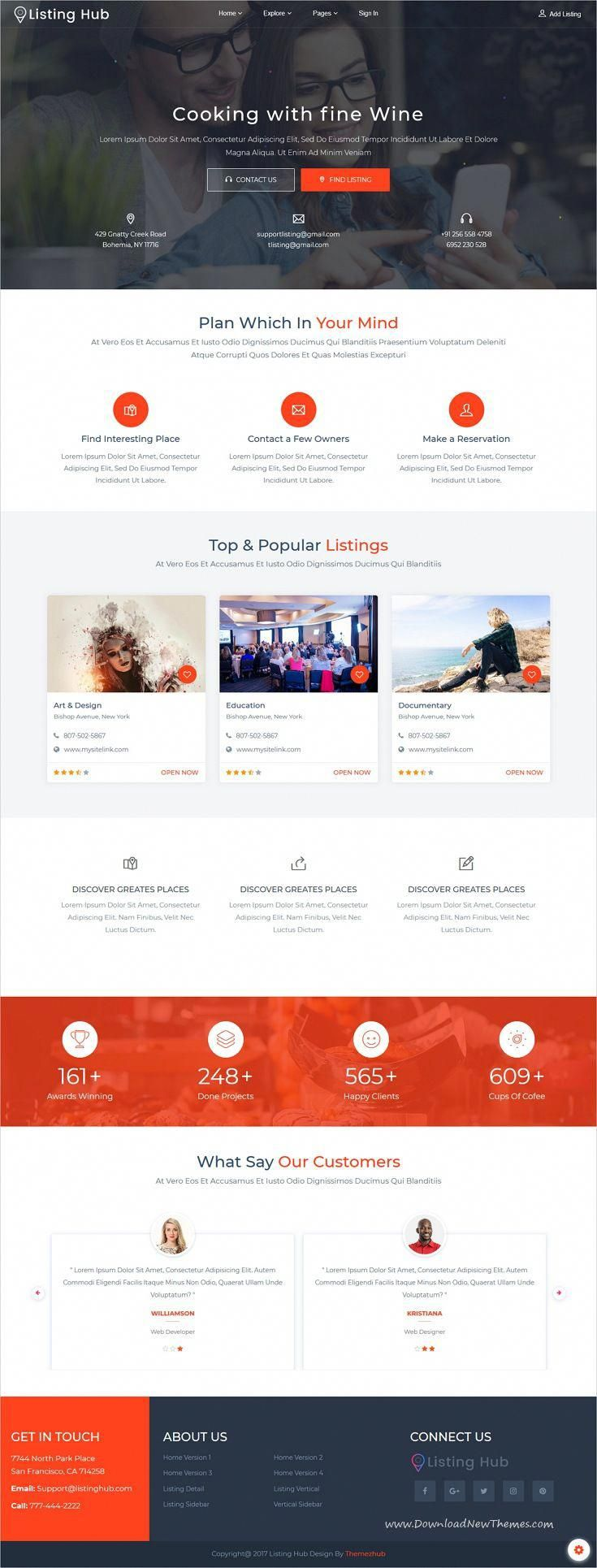 Listing Hub Is Clean And Modern Design 5in1 Responsive Bootstrap Html Template For Directory Listings Websit Website Creation Webpage Layout Html Templates