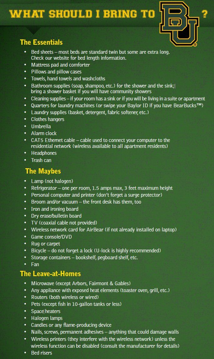 Handy list of what to bring (and what not to bring) to #Baylor // #BU17
