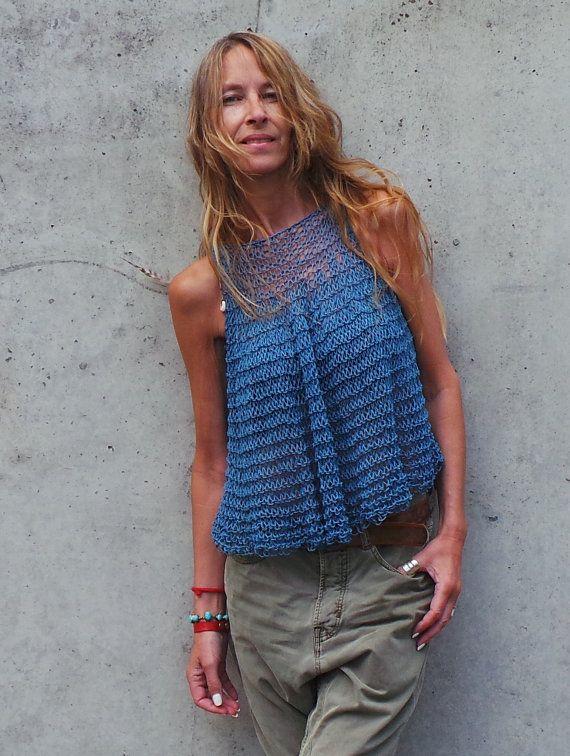 bleu débardeur coton tricot blouse tunique coton lin par ileaiye