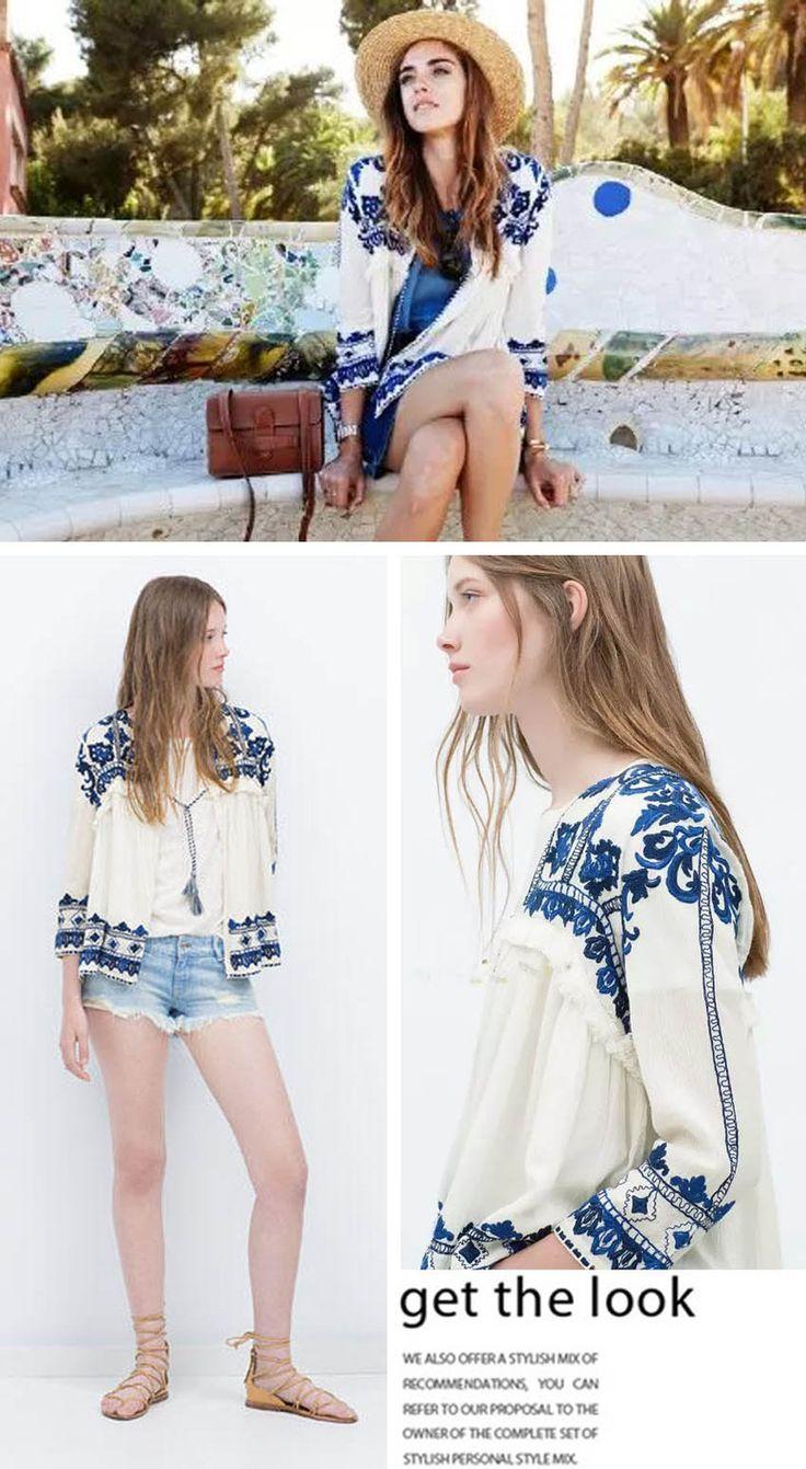 Модный урожай ретро этническая мода женщины вышитые синий и белый цветок печать широкий свободного покроя белье кардиган куртки солнцезащитный крем купить на AliExpress