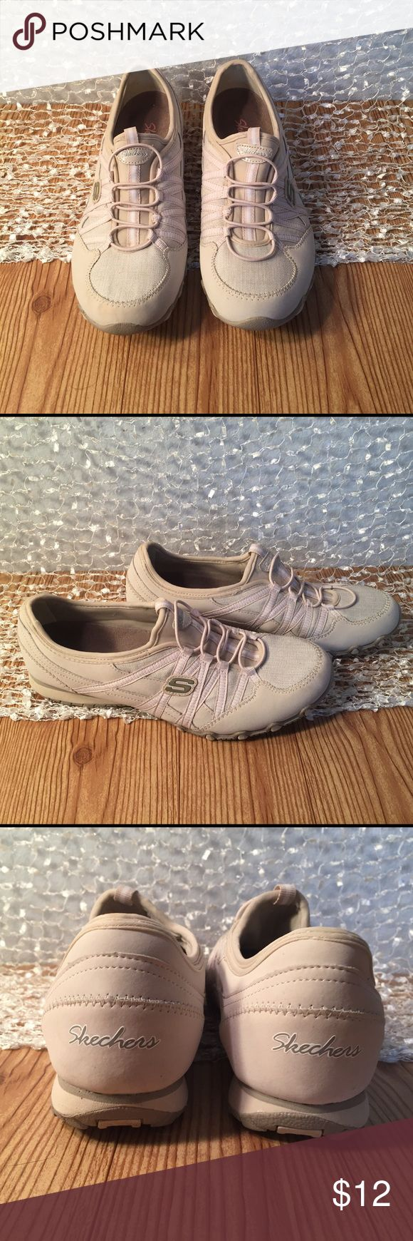 Tan and cream colored Skechers slip-on sneakers. Tan and cream colored Skechers slip-on sneakers. Size 9 Skechers Shoes Sneakers