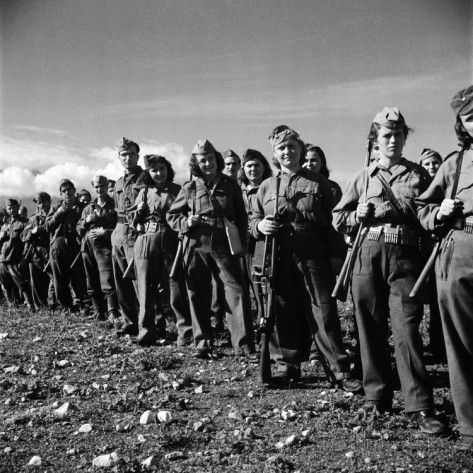 Group of Fairly Well Equipped Male and Female Resistance Fighters, Called the Andartes Photographic Print