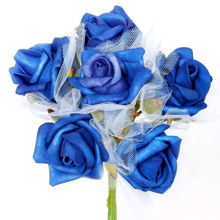 72 x SPECIAL EDITION Tres Beau Silk Roses - Royal Blue |  Aptly named Tres Beau, a French word for Beautiful, our foam roses provide you much superior and refined version of artificial flowers. Made from high quality Styrofoam, these faux blooms will continue having a perfect shape, displaying perpetual bloom forever. Wired stem is swathed with green ribbon to give a realistic stem look. Bendable wired stem can easily be wrapped around baskets, boxes, or can be twisted into different crafts…