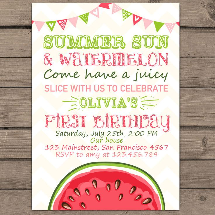 Watermelon Birthday invitation Sunshine Summer First Birthday Party Invite Summer Sun Watermelon Days Pink Green Digital printable ANY AGE by Anietillustration on Etsy https://www.etsy.com/listing/234738197/watermelon-birthday-invitation-sunshine