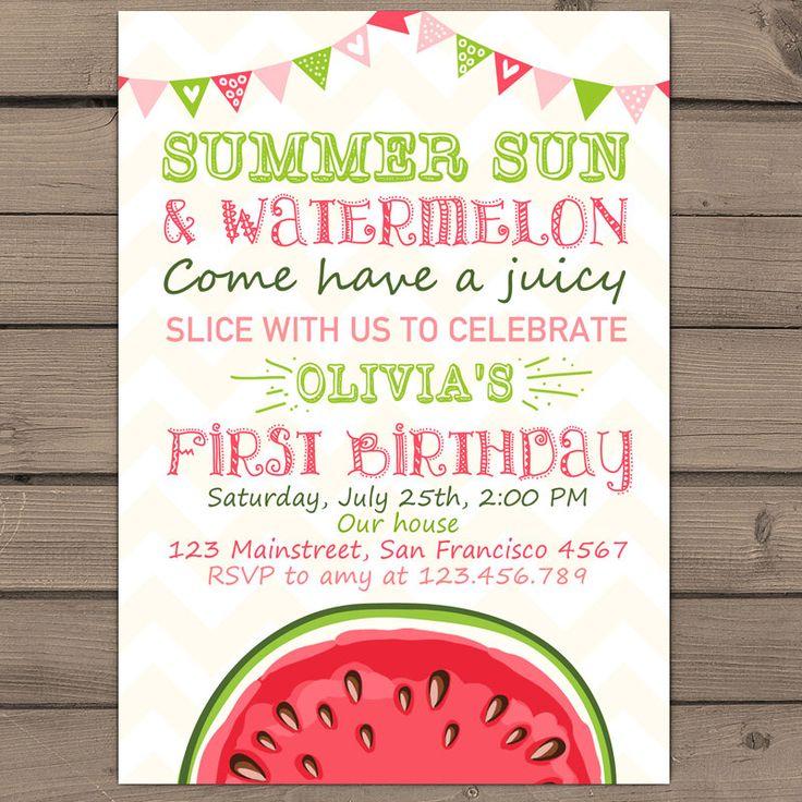 Watermelon Birthday invitation Sunshine Summer First Birthday Party Invite Summer Sun Watermelon Days Pink Green Digital printable ANY AGE by Anietillustration on Etsy https://www.etsy.com/listing/234738197/watermelon-birthday-invitation-sunshine
