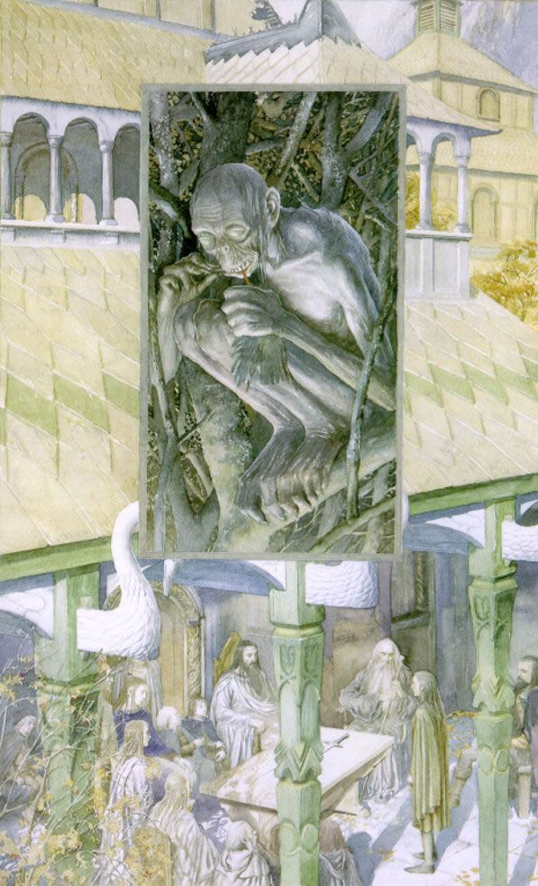 Alan Lee - the Council of Elrond where Gandalf relates the events in Golum's life after he left the keeping of the Wood Elves