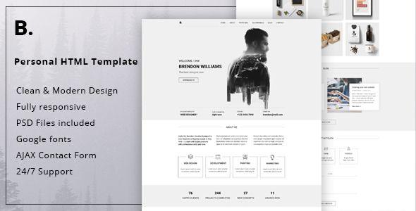 Brendon - Minimal Personal Blog Portfolio HTML Template Site Templates / Personal / Virtual Business Card by SkillTeam