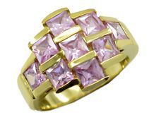 Pink CZ Gold Plated Ring appealing Pink exporter AU KMOQ