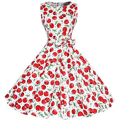 Maggie Tang Women's 50s Vintage Cherry Rockabilly Hepburn Pinup Cos Party Swing Dress 570 - USD $ 32.99