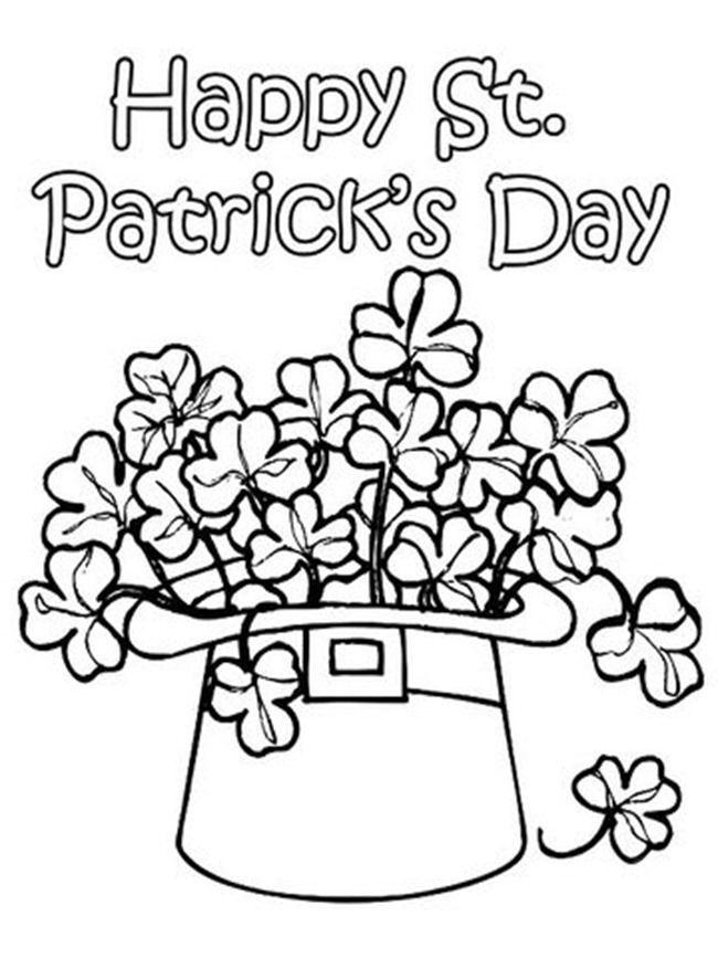 Hat O Shamrock St Patricks Day Coloring Pages Spring Coloring Pages Printable Coloring Pages St Patricks Coloring Sheets