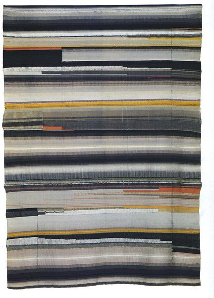 Wall hanging after Helene Nonne-Schmidt.  Flatweave. Partly reversed harness.  Wool, rayon and other yarns.  1923.  138 x 100 cm.    Copy made by Helene Boerner in 1925.   Bauhaus-Museum, Weimar.  Original lost.