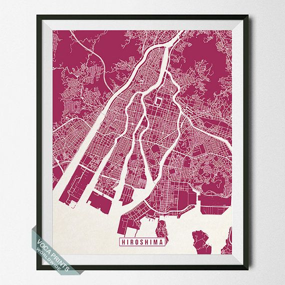 Hiroshima Map Japan Poster Hiroshima Print Hiroshima by VocaPrints