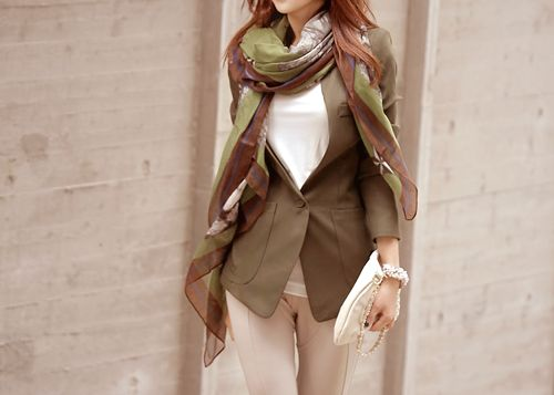 love the scarf blazer combo #kfashion: