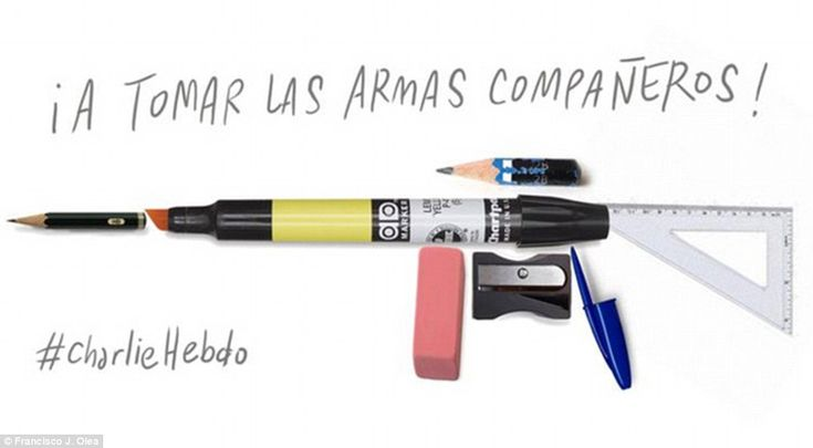'And this is our gun!' A Chilean caricaturists thought up this clever image after the distressing event, which saw 12 people die and 11 injured