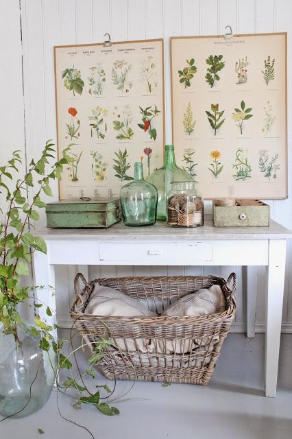great grouping with vintage posters, basket and demijohns