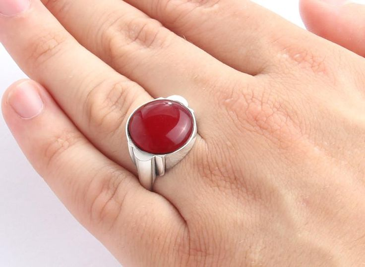 Men's Ring Sterling Silver with Natural Red Agate, Men's Stone Ring #jewelryoftheday #mensnecklace #finejewelry #jewelsformen #mensstyle #mensbracelet #amethyst #rubyring #ringsapphire #jewelryofinstagram