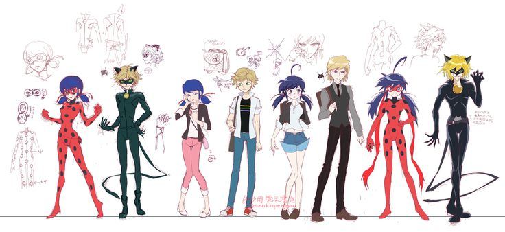 (Miraculous: Tales of Ladybug and Cat Noir/Miraculous Ladybug PV) Ladybug/Marinette Dupain-Cheng, Cat Noir/Adrien, Marinette/Ladybug and Chat Noir/Felix