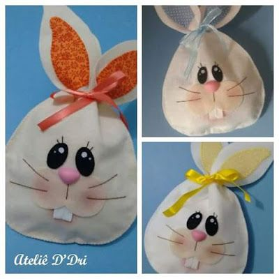 coelho em feltro, saquinhos chocolate em feltro, saquinhos de coelhinho em feltro, easter felt, bunny rabbit felt, parte 1