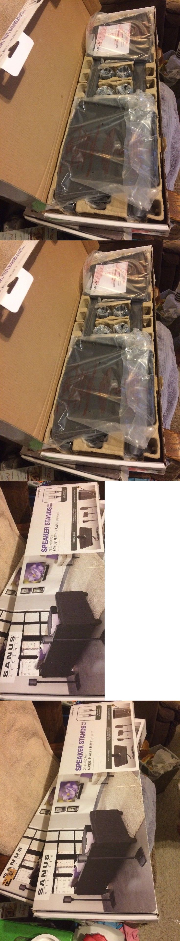 Speaker Mounts and Stands: Pair Of 2 Sanus 34 Speaker Stands For Sonos Play 1 And Play 3 Awss2-B1 New Sealed -> BUY IT NOW ONLY: $79 on eBay!
