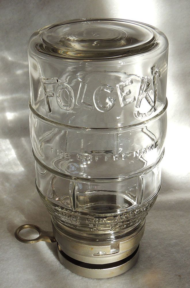 Rare Vintage Glass Folgers Coffee Jar Canister With Metal Lid Dispenser #Folgers