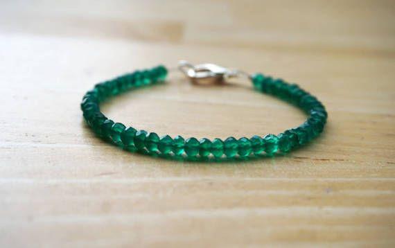 Onice verde bracciale, bracciale pietra dure, accatastamento bracciale, sottile braccialetto, delicato bracciale, Bracciale verde, onice bracciale, bracciale minimalista
