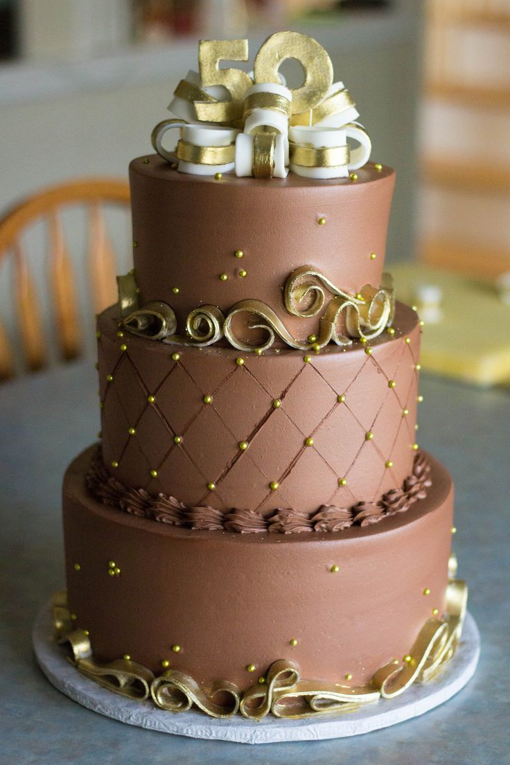 chocolate gold 50th anniversary cake grace ful cakes pinterest. Black Bedroom Furniture Sets. Home Design Ideas