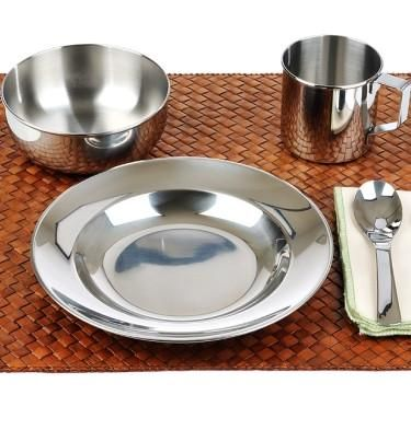 stainless steel dish set includes plate bowl and cup with handle for kids and toddlers dishes are unbreakable food safe and completely plastic free