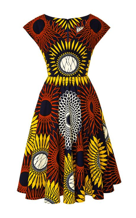 Sunflower Makeba Dress by Lena Hoschek - Moda Operandi. Latest African Fashion, African Prints, African fashion styles, African clothing, Nigerian style, Ghanaian fashion, African women dresses, African Bags, African shoes, Nigerian fashion, Ankara, Aso okè, Kenté, brocade etc ~DK