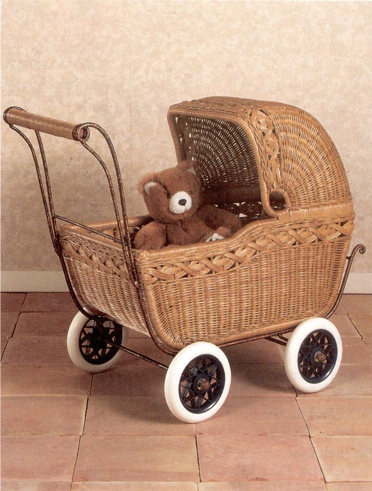 Doll Carriage in Dark Honey Wicker
